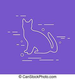 Vector Cat Line Icon.