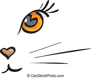 Vector cat muzzle painted on a white background