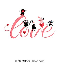 Vector cats in love with the word love on a white background