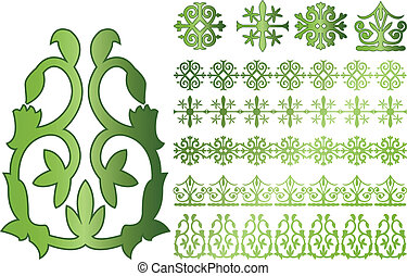 Vector Caucasus ornaments on white