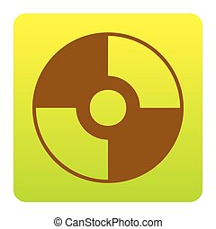 Vector CD or DVD sign. Vector. Brown icon at green-yellow gradient square with rounded corners on white background. Isolated.