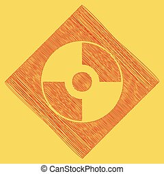 Vector CD or DVD sign. Vector. Red scribble icon obtained as a result of subtraction rhomb and path. Royal yellow background.