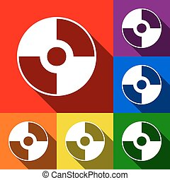 Vector CD or DVD sign. Vector. Set of icons with flat shadows at red, orange, yellow, green, blue and violet background.