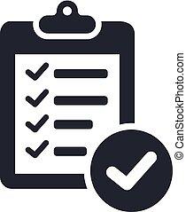 vector., cdr, lista cheque, icono