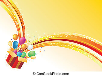 vector celebration background - gift box and balloon, ...