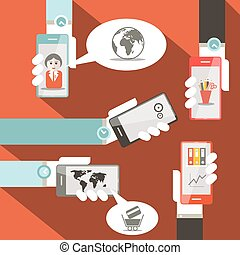 Vector Cell Phones in Hands Illustration