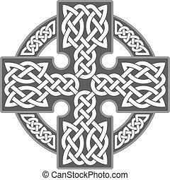 Vector celtic cross. Ethnic ornament. Geometric design