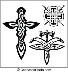 Vector celtic set. Celtic abstract knot pattern - isolated...