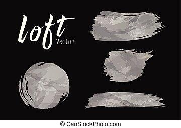 Vector Cement loft style brush design on black background