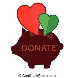 vector, cerdito, icono, estilo, donación, aislado, fondo blanco, plano, ilustración, banco