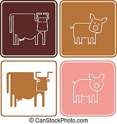 vector, cerdo, -, vaca, iconos