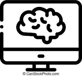 vector, cerebro, icono, contorno, exhibición, ilustración