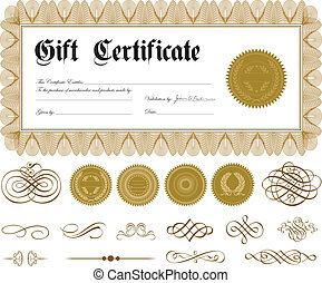 Vector Certificate Border and Gold Ornaments - Vector ornate...