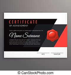 vector certificate design in modern black and red geometric shapes