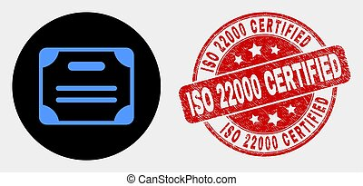 Vector Certificate Diploma Icon and Distress ISO 22000 Certified Stamp Seal