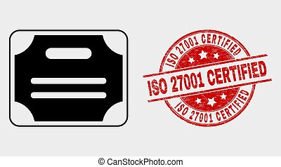 Vector Certificate Diploma Icon and Grunge ISO 27001 Certified Stamp