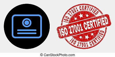 Vector Certificate Icon and Scratched ISO 27001 Certified Stamp