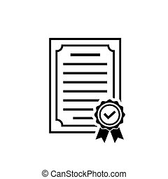 Vector certificate icon with rosette and check