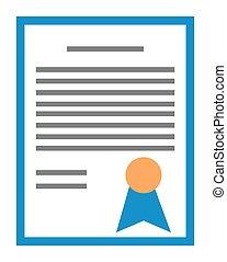 Vector certificate illustration. Achievement, award, grant, diploma concept graphic design element