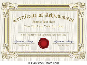 Vector certificate of achievement w