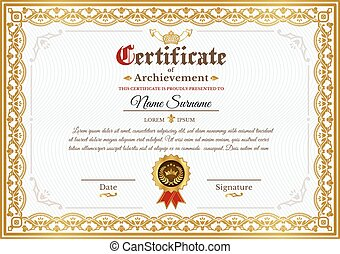 Vector certificate template with golden vintage ornament