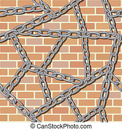 chain on brick wall seamless background - vector chain on...