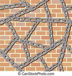 chain on brick wall seamless background