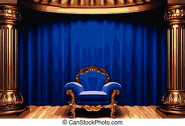 vector chair and curtain stage