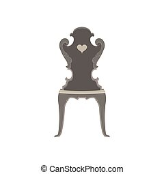 Vector chair flat icon isolated. Furniture interior design style illustration. Black armchair graphic
