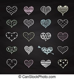 Vector Chalk Drawing Heart Shapes with Doodle Patterns