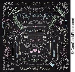 Vector Chalk Drawing Rustic Floral Design Elements