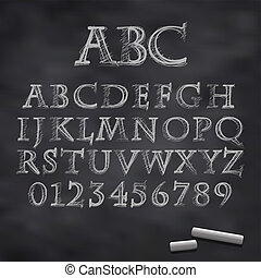 Vector chalk font - Vector illustration of a chalk alphabet...
