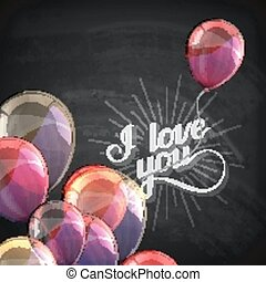 vector chalk typographic illustration of handwritten I love you retro label. lettering composition on the blackboard texture with flying balloons