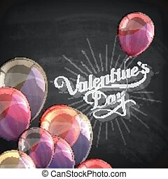 vector chalk typographic illustration of handwritten St. Valentines Day retro label on the blackboard background with flying balloons. holiday lettering composition
