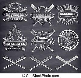 Vector Chalkboard Baseball Logos