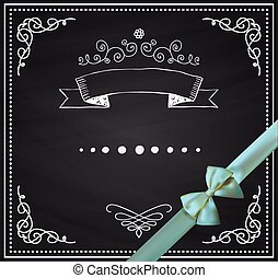 Vector Chalkboard Card with Doodle Hand Sketched Elements -...