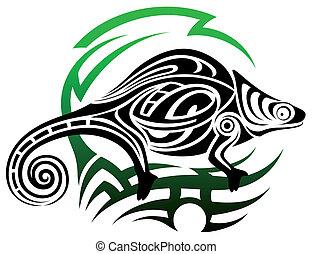 Vector chameleon, tribal tattoo