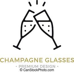 Vector champagne glasses icon. Celebration, holidays, toast...