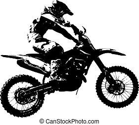 vector, championship., motocross, participates, jinete, illustration.
