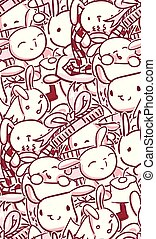 vector character rabbit baby seamless pattern pink