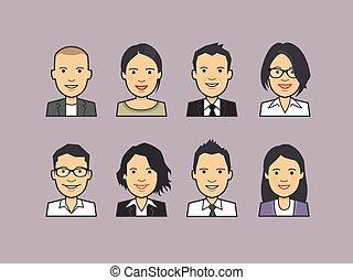 Set of avatars, happy people faces