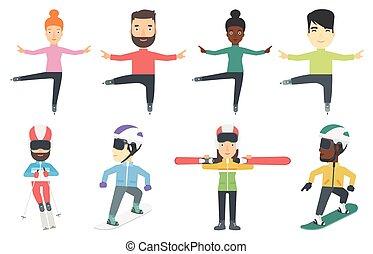 vector, characters., set, sportende, winter
