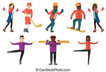vector, characters., sportende, set