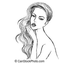 Vector charcoal sketch of Beautiful Woman - Vector sketch of...