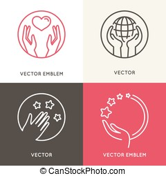 Vector charity and volunteer concepts and logo design elements in trendy linear style