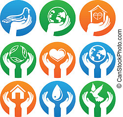 Vector charity signs and logos - hands and different symbols