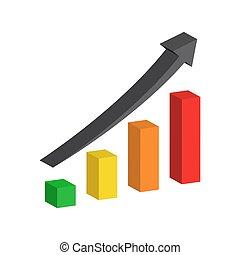 Vector Chart with arrow up. 3D graph.