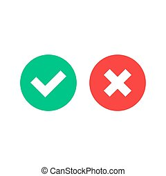 Vector check mark icons. Green checkmark and red cross. Vector flat icons set isolated on white background