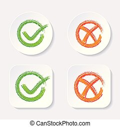 Vector check mark icons on buttons