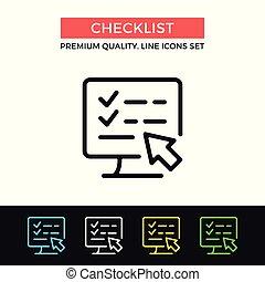 Vector checklist icon. List, survey concepts. Premium quality graphic design. Modern signs, outline symbols collection, simple thin line icons set
